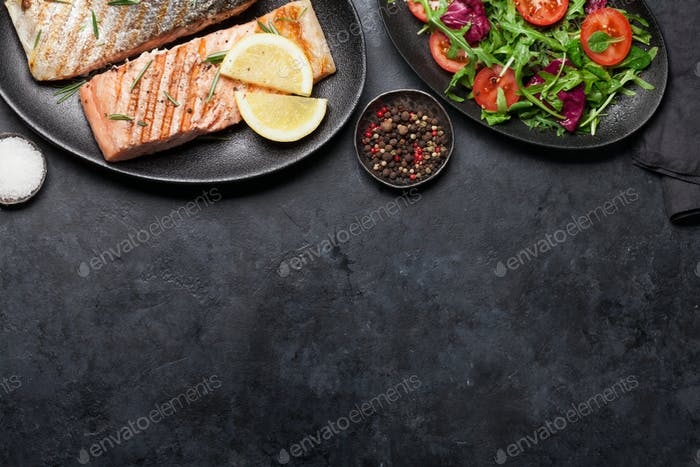 Grilled salmon fish fillet