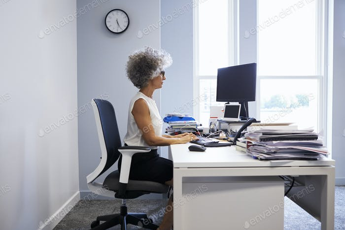 Middle aged businesswoman using laptop computer in her office