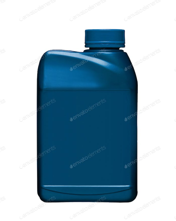 Blue plastic gallon isolated on white background