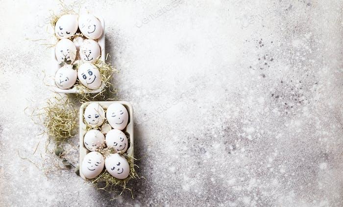Пасхальные яйца. Смешные украшения. Яйца со смешными лицами