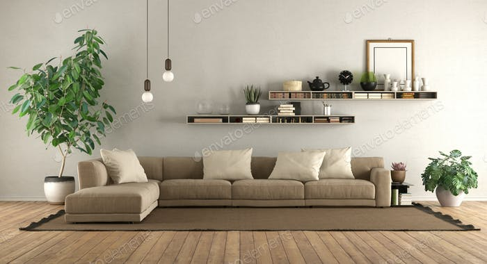 Modern living room with sofa and shelves