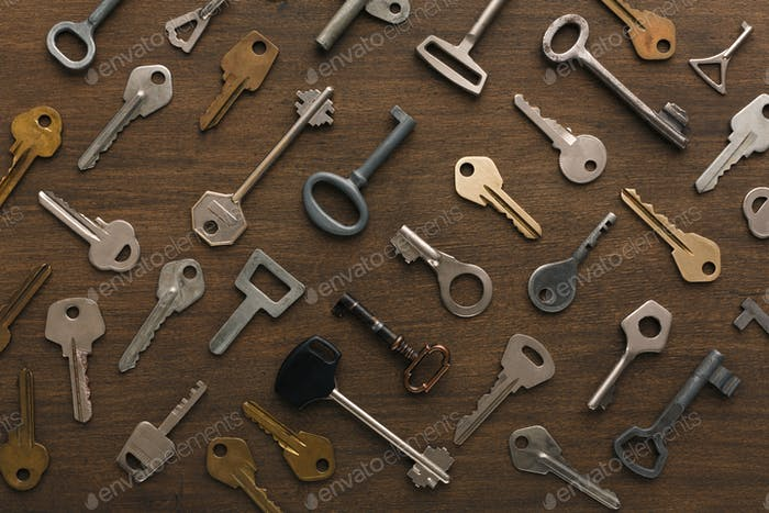 Many different keys on wood