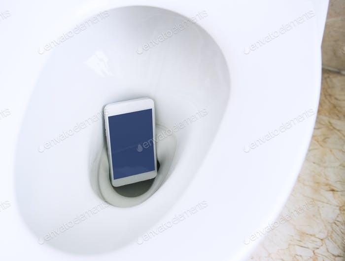 Smartphone fell in the toilet bowl