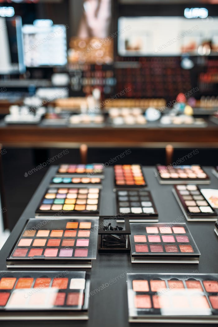 Face cosmetic collection, showcase in makeup store