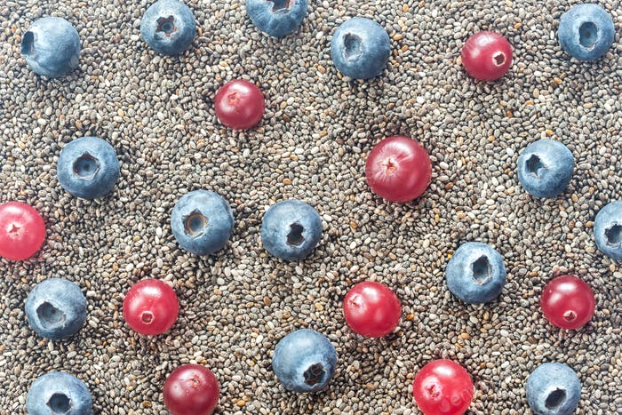 Chia seeds with fresh berries