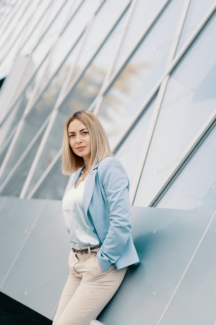 Successful business woman in blue suit