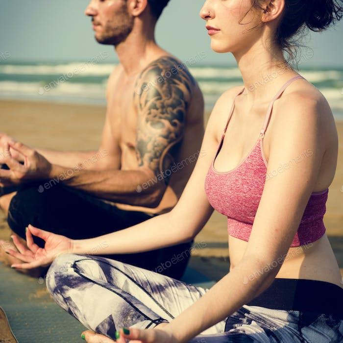 Yoga Meditation Konzentration Friedliche Ruhe Entspannung Konzept
