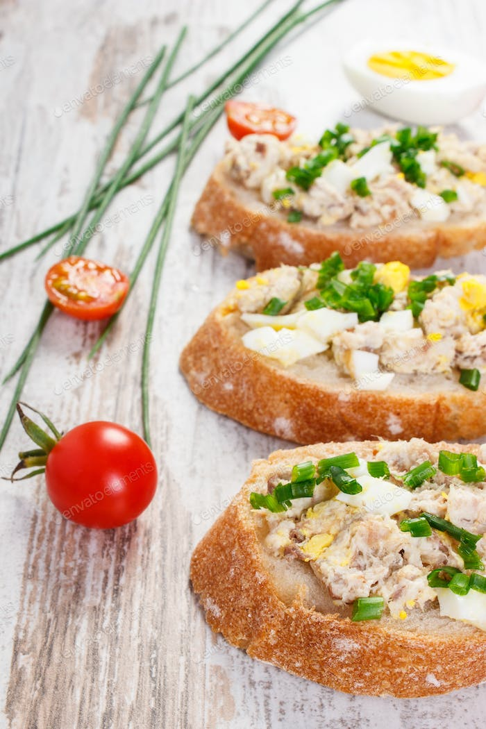 Crusty baguette with mackerel fish paste, healthy nutrition concept