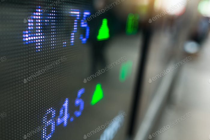 Stock market price on display