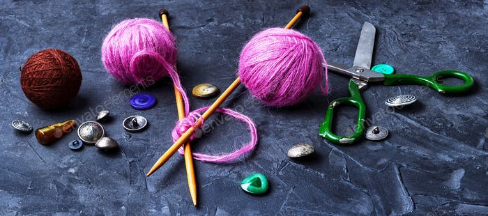 Close-up of tool knitting