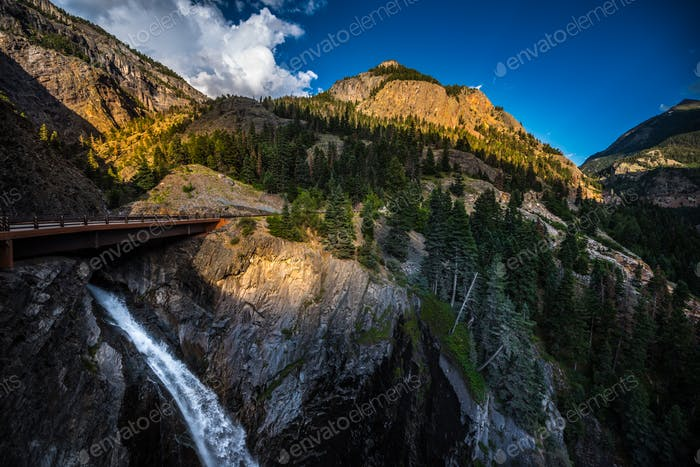 Bear Creek Falls with Mt Abram in the Background Colorado Landsc
