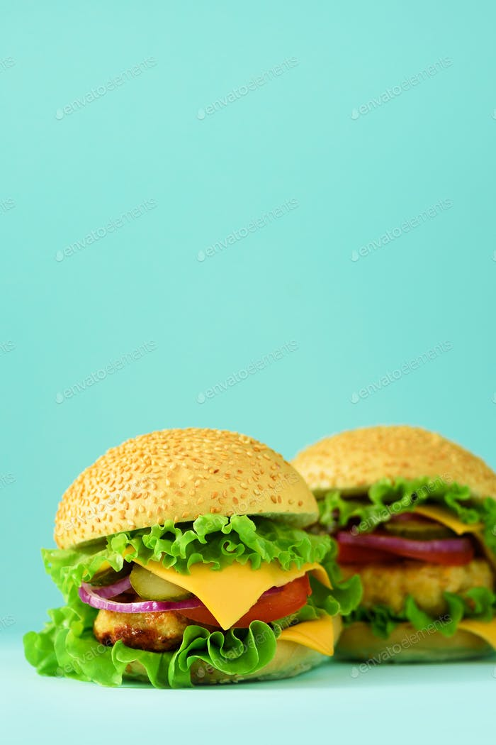 Fast food frame. Delicious meat burgers on blue background. Take away meal. Unhealthy diet concept