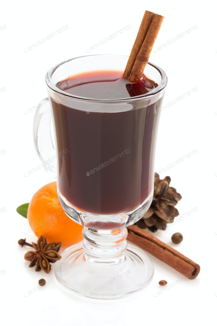 mulled wine  on white