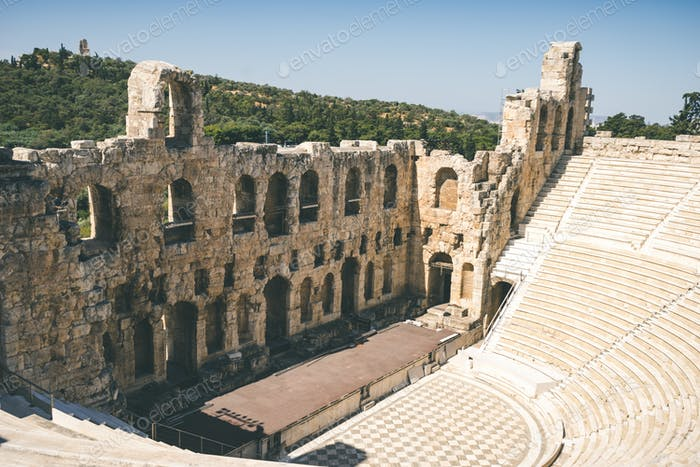 Ancient theater of Herodes Atticus on Acropolis in Athens, Greec