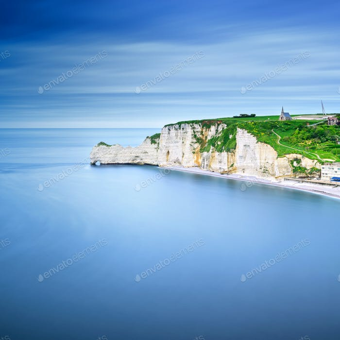 Etretat cliff, rocks landmark and ocean . Normandy, France.