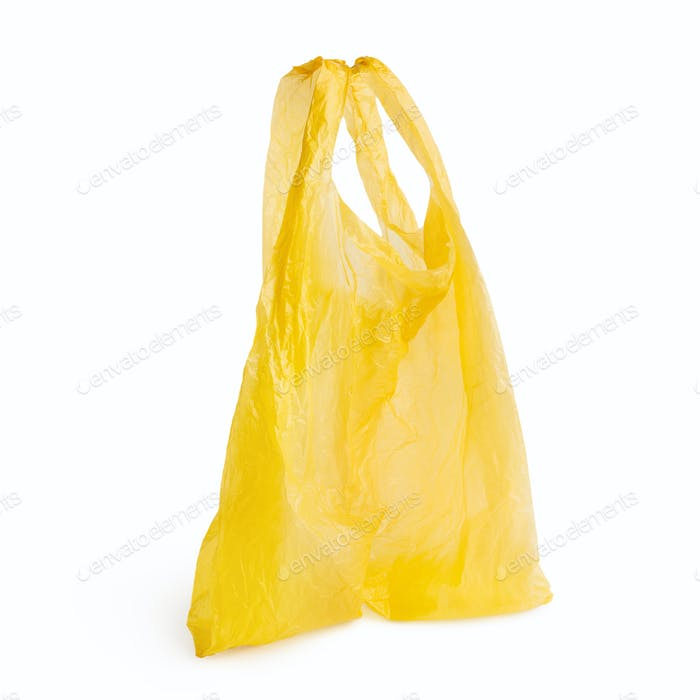 Empty plastic bag on white