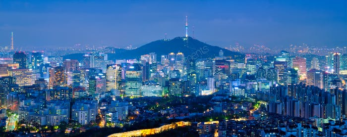 Seoul skyline in the night, South Korea