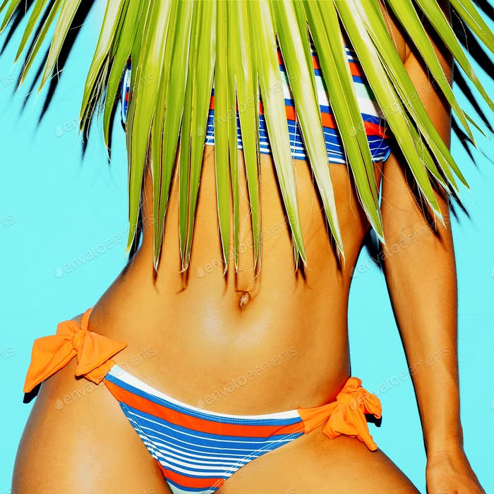 Striped swimsuit fashion. Beach fashion style