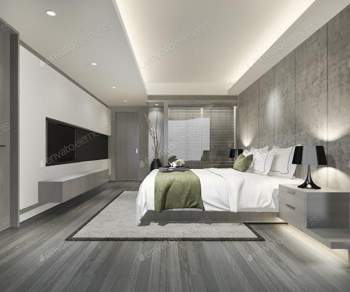 3d rendering luxury suite hotel bedroom near glass bathroom with blind