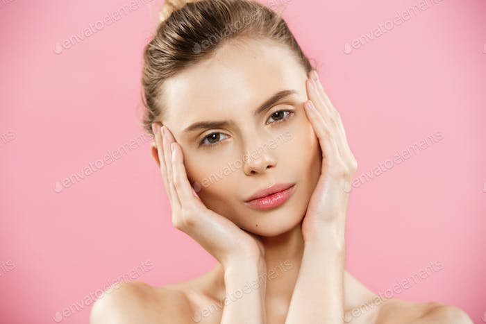 Beauty Concept - Close up Portrait of attractive caucasian girl with beauty natural skin isolated on