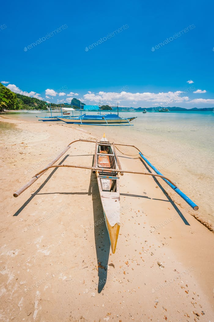 Philippines beach landscape - Banca boat at Corong Corong beach in El Nido, Palawan island