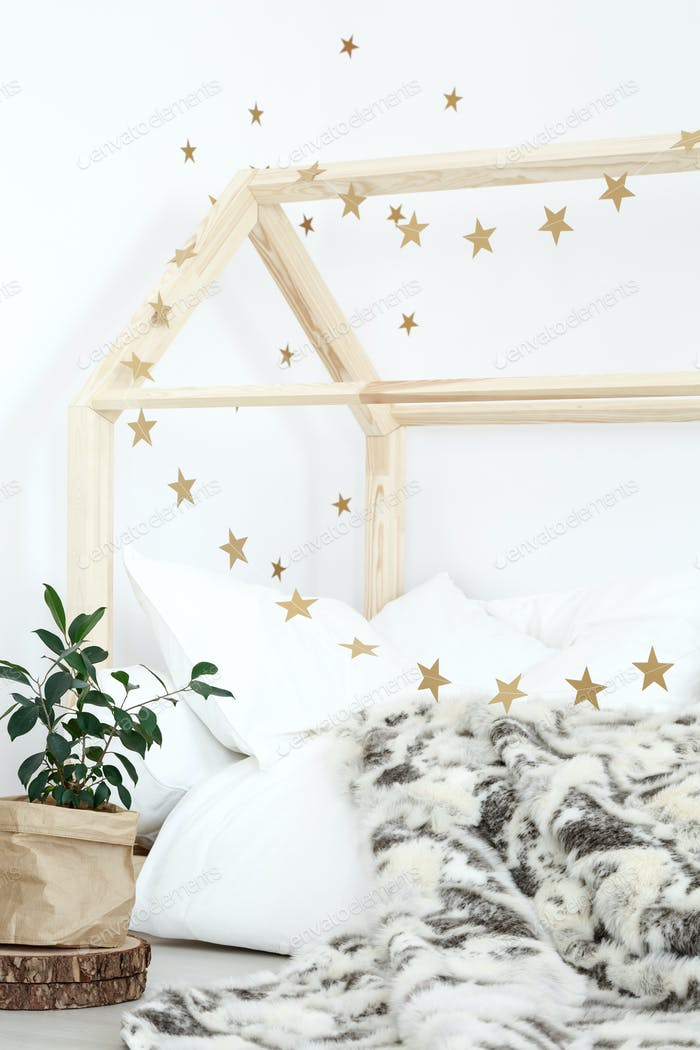 Bed decorated with stars