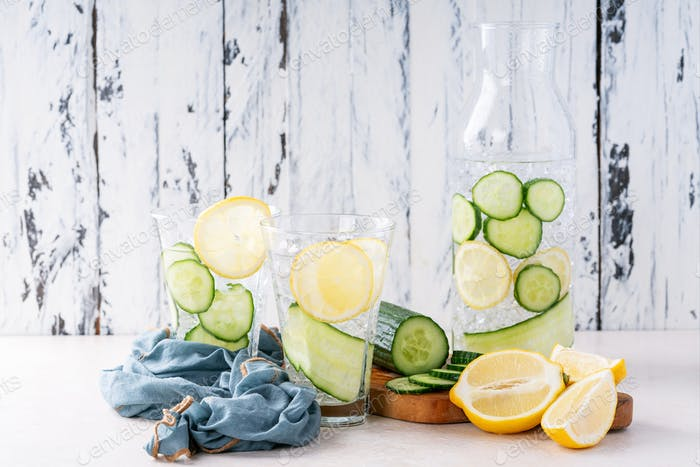 Cucumber and lemon infused water