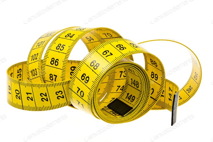 Isolated yellow measuring tape