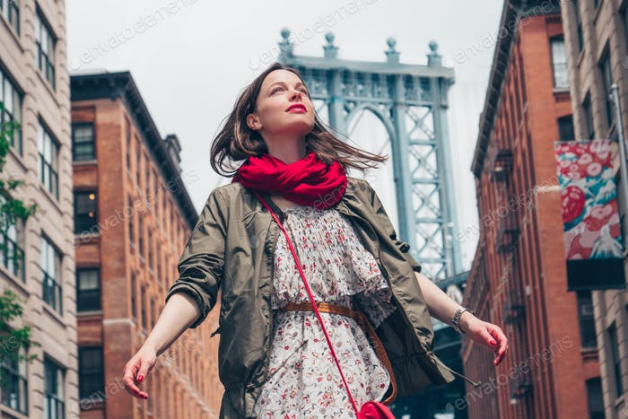 Beautiful girl in New York City