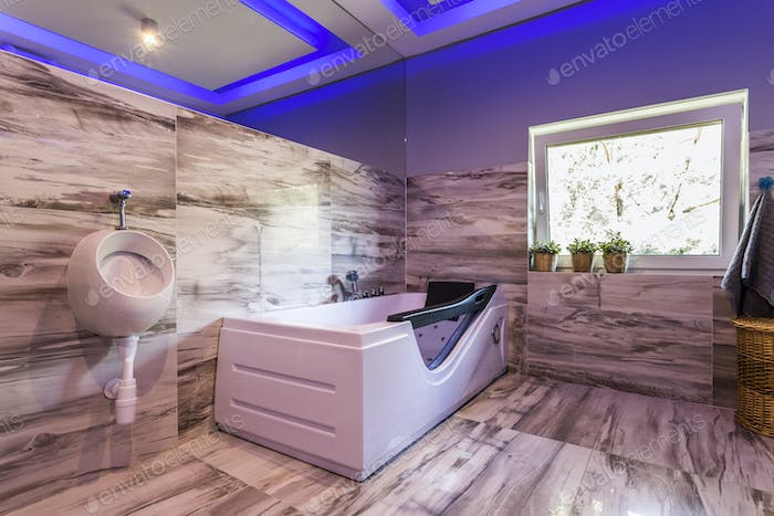 Extravagant bathroom with urinal, hot tub