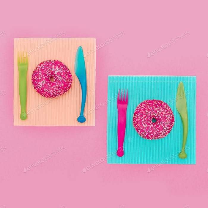 Set Donut Fast food Minimal. Cute fashion art Creative design