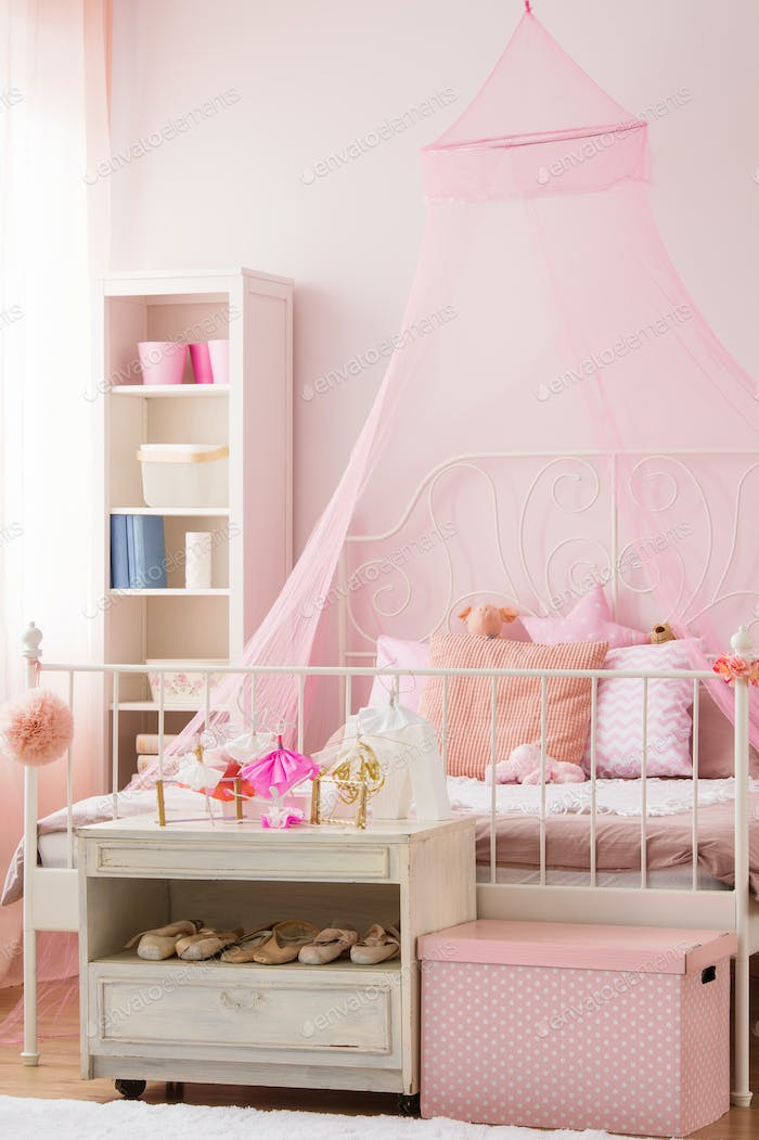 Girls bedroom with canopy bed