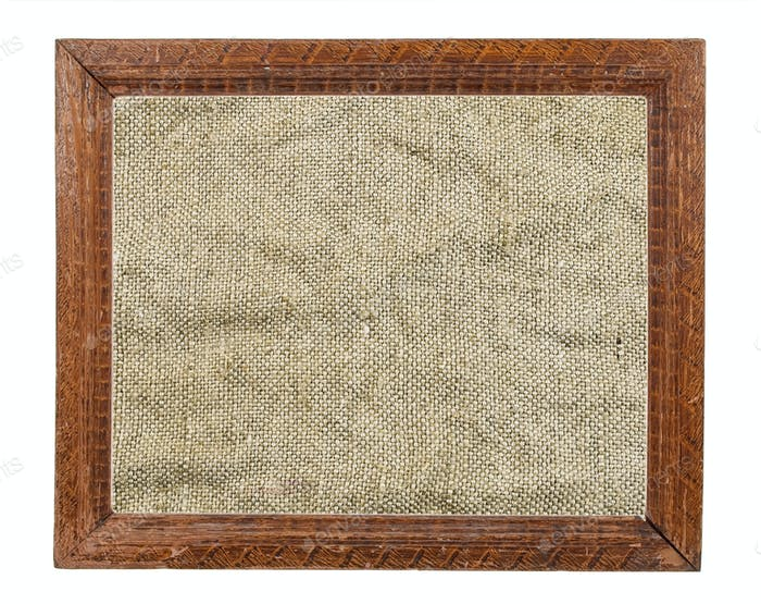 Old wooden frame with burlap texture