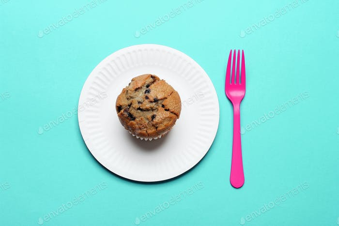 Blueberry Muffin with Paper Plate