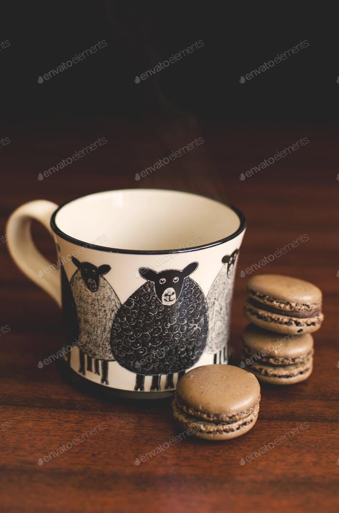 Hot coffee and macarons