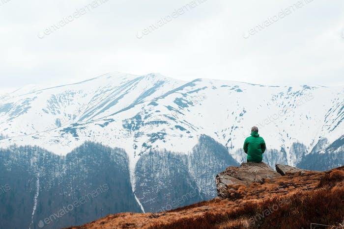 Man in spring mountains