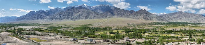 Views of desert and fields from Stakna monastery in Ladakh region, Leh, India.
