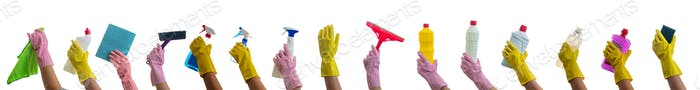 Cleaning supplies on gloved hands isolated against white background.