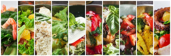 Collage of different tasty fresh restaurant salads