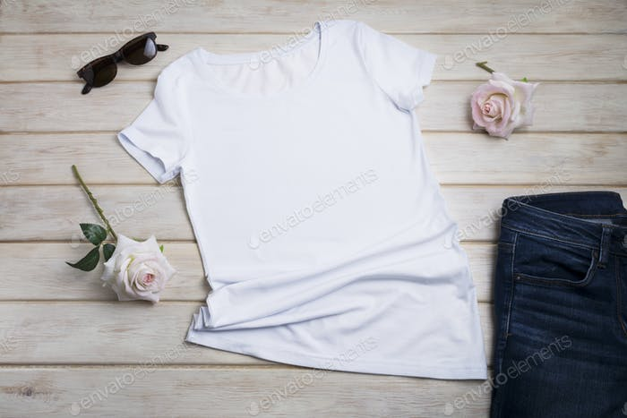 Placeit – Women T-shirt mockup with two pink roses
