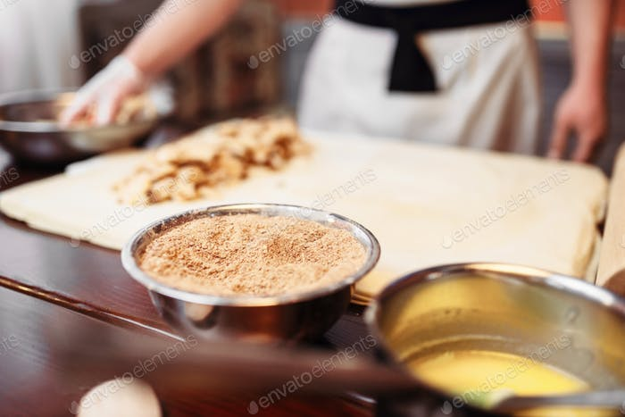 Chef cooking strudel, pastry ingredients