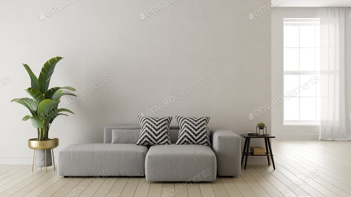 Interior of modern living room 3 D rendering