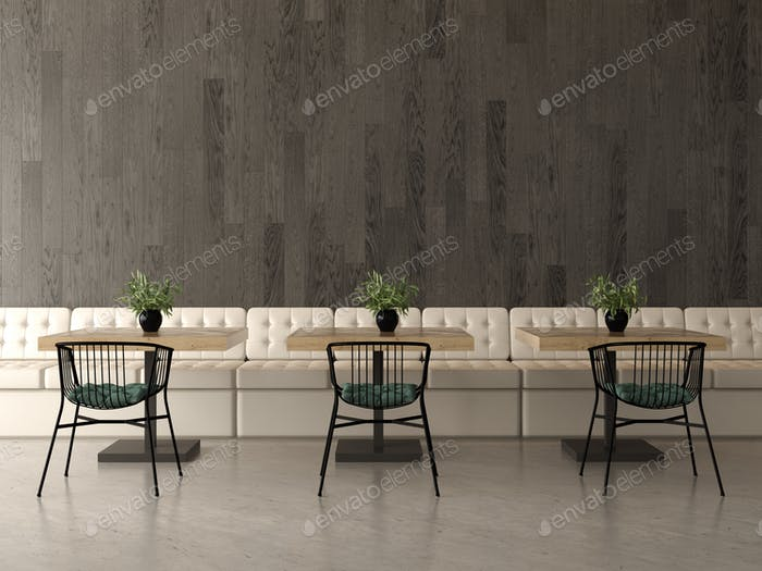 Interior design of a coffee shop, cafe. 3D rendering