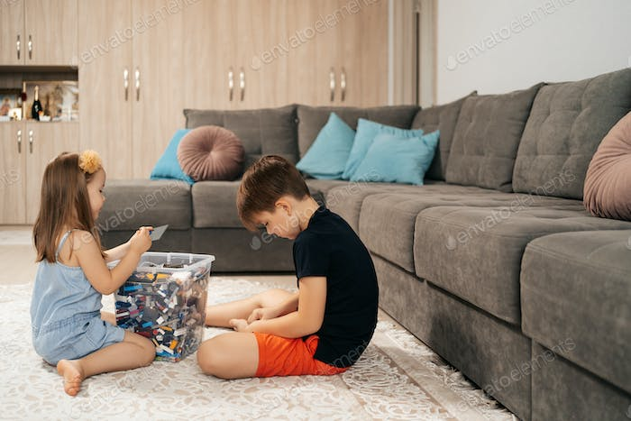 Kids playing lego at home