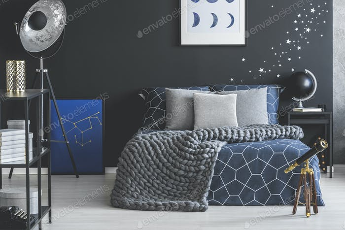 Grey and blue bedroom interior