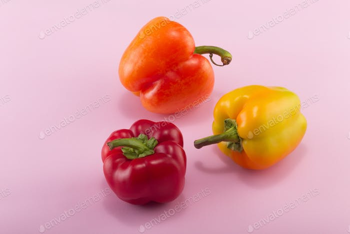 Sweet Bell Pepper On A Colored Background Studio Light Top View