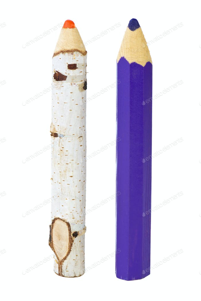 Two big fancy wooden pencils