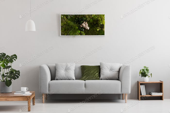 Grey sofa with pillow in real photo of bright sitting room inter