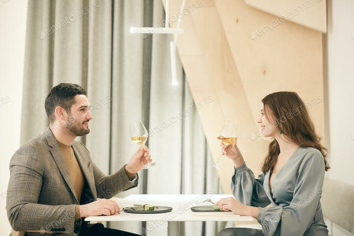 Romantic Date in Restaurant Side View