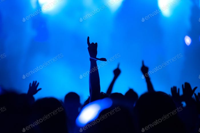 Rear view of silhouette of crowd with arms outstretched at concert. Summer music festival concept